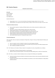 Resume For Teacher Sample by Esl Teacher Resume Berathen Com