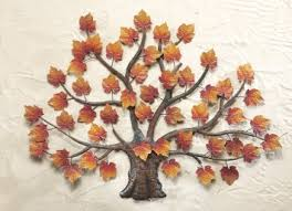 buy harvest fall maple leaves tree metal wall hanging plaque