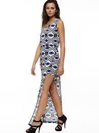 buy aztec print one shoulder high low hem dress for women