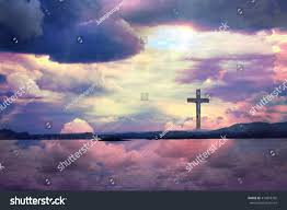 cross jesus christ beautiful heavenly clouds stock photo 414818392