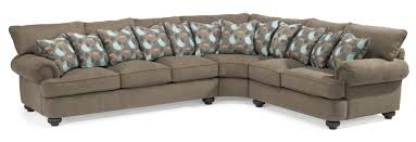 Flexsteel Sectional Sofa Flexsteel Patterson Three Sectional Sofa With Rolled Arms