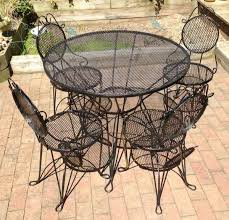 Black Wrought Iron Patio Furniture Sets Simple Wrought Iron Patio Furniture Sets On Gloss Black Metal