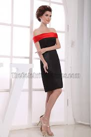 black and red off the shoulder cocktail party graduation dresses