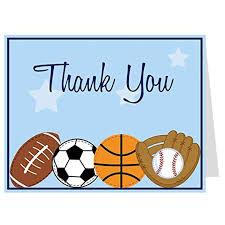 sports thank you cards baby shower birthday boys football