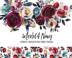 burgundy flowers boho bordo navy watercolor floral clipart burgundy