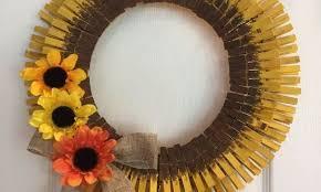 sunflower wreath clothespin sunflower wreath