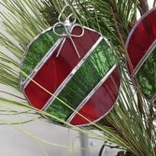 3 red u0026 sparkle christmas ornaments in stained glass choose 3