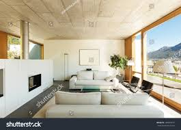 Modern Home Living Room Pictures Beautiful Modern House Cement Interiors View Stock Photo 160824677