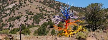 psychedelic colored trees in desert awesomenator