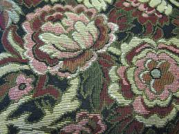 vintage heavy upholstery style fabric cottage chic floral print
