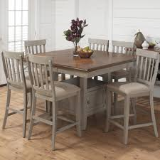 kitchen table round counter height set wood storage 8 seats birch