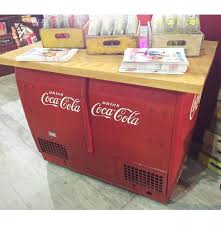 coca cola cooler storage table