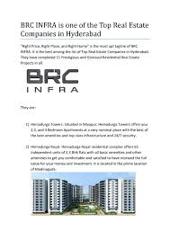 top real estate companies in hyderabad residential projects brc
