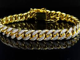cuban link bracelet gold images Solid 10k yellow gold miami cuban link diamond 8 5 inch 9 5mm jpg