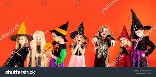 halloween children background halloween group children girls costumes on stock photo 111759224