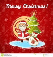 vector christmas illustration of santa claus snowman and