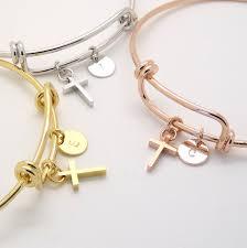 Personalized Bangle Bracelets Rose Gold Cross Bracelet Rose Gold Initial And Cross Bangle
