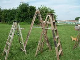 6 step vintage wooden step ladders for decorating