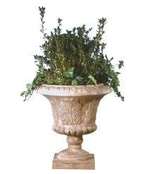 large round resin tuscan leaf urn planter hayneedle
