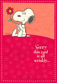 hugs in the mail peanuts snoopy sweetest day card greeting