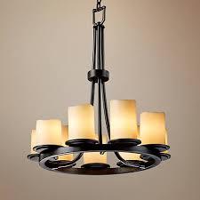 faux candle light fixtures 9 light ring black creme faux candle chandelier u1143 ls plus