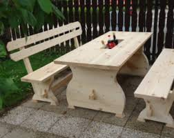 Wooden Table With Bench Wooden Cooler Etsy