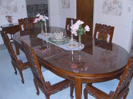 Carved Dining Table And Chairs Wood Carved Dining Table With 8 Foamy Seats Chair