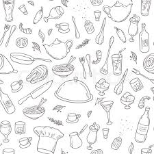 seamless pattern food food and drink outline seamless pattern hand drawn kitchen