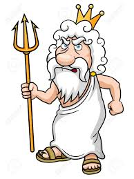 illustration of cartoon poseidon with trident royalty free