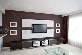 home theater entertainment center modern home theater room interior with flat screen tv stock photo