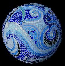 12 Inch Glass Gazing Balls Mosaic Orb Blue Garden Sphere Glass Terracotta Gazing Ball