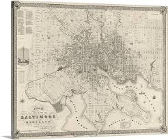 map of maryland to print vintage map plan of the city of baltimore maryland wall