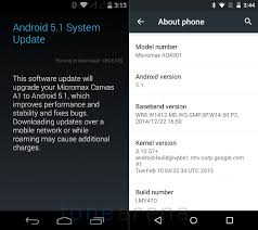 android update 5 1 micromax canvas a1 gets android 5 1 lollipop update