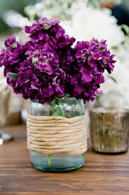 Mason Jar Arrangements Purple Flowers In Blue Mason Jar Wedding Centerpieces Deer Pearl