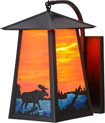 outdoor rustic lighting meyda tiffany 147999 stillwater moose at lake rustic moose on lake