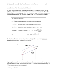 mean value theorem and rolle u0027s theorem 11th 12th grade worksheet