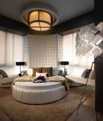 bedroom modern white round waterbed with flush mount ceiling