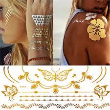 5pcs metallic henna tattoo fake temporary tattoo waterproof hand