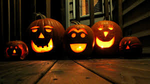 three jack o lanterns