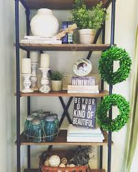 modern farmhouse bookshelf styling wayfair greenery cream
