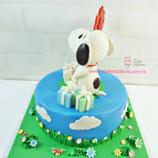 snoopy birthday with gift box cake