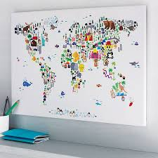 World Map Art Print by Animal World Map Print Colorful Animals Ivory And Animal