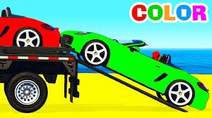 color cars transportation in spiderman cartoon for kids u0026 colors