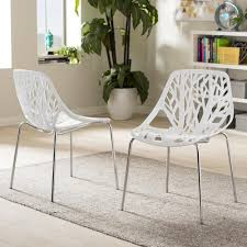 White Plastic Dining Table Baxton Studio Birch Sapling White Plastic Dining Chairs Set Of 2