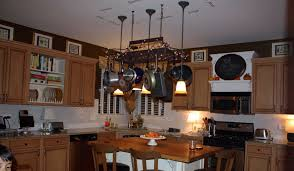Kitchen Cabinet Pot Organizer Splendid Kitchen Pot Rack With Lights Come With Rectangle Shape