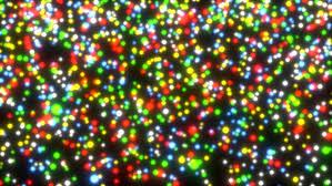 christmas spotlights light matrix of color shimmering spherical spotlights stock