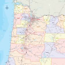 map of oregon with counties oregon counties wall map maps