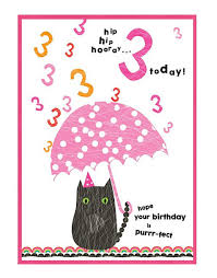 cat birthday cards for girls age cards 3rd birthday card for kids
