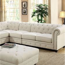 Traditional Fabric Sofas Stanford Ii Traditional Sectional Ivory Fabric