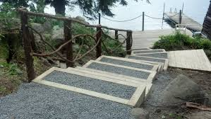 timber stairways provide improved access to lake front properties